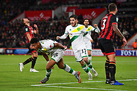 Onel Hernandez of Norwich City scores and prepares to celebrate as Dan Gosling of AFC Bournemouth left looks distraught during AFC Bournemouth vs Norwich City, Caraboa Cup Football at the Vitality Stadium on 30th October 2018
