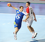 21.01.2013 Barcelona, Spain. IHF men's world championship, Eighth Final. Picture show Uros Zorman  in action during game slovenia vs Egypt at Palau St Jordi