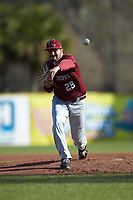 Saint Joseph's Hawks starting pitcher Lucas Rollins (29) delivers a pitch to the plate against the Western Carolina Catamounts at TicketReturn.com Field at Pelicans Ballpark on February 23, 2020 in Myrtle Beach, South Carolina. The Hawks defeated the Catamounts 9-2. (Brian Westerholt/Four Seam Images)