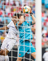 CHARLOTTE, NC - JULY 20: Emiliano Martinez #26 saves the ball during a game between ACF Fiorentina and Arsenal at Bank of America Stadium on July 20, 2019 in Charlotte, North Carolina.