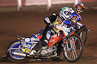 Heat 2: Filip Sitera (green) and Chris Mills (blue) - Lakeside Hammers vs Coventry Bees - Craven Shield Final 1st Leg at The Arena Essex Raceway, Lakeside - 16/10/08 - MANDATORY CREDIT: Rob Newell/TGSPHOTO