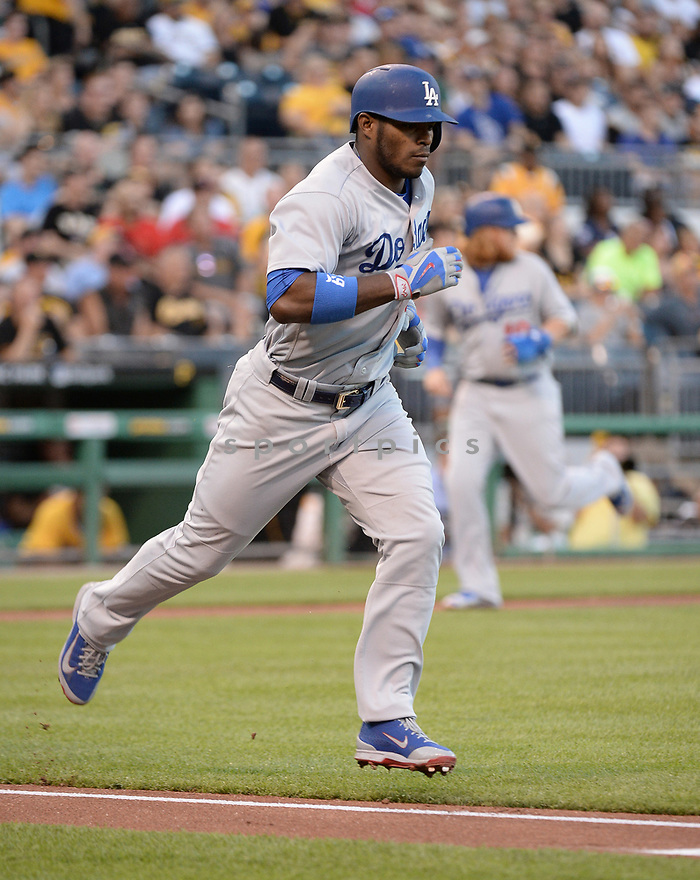 Los Angeles Dodgers Yasiel Puig (66) during a game against the Pittsburgh Pirates on June 26, 2016 at PNC Park in Pittsburgh, PA. The Dodgers beat the Pirates 4-3.