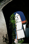 Tourists walk past Sain Mang's church in downtonwn Fussen, Germany, August 06, 2008. (ALTERPHOTOS/Alvaro Hernandez)