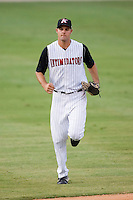 Center fielder Jordan Danks (13) of the Kannapolis Intimidators jogs off the field at Fieldcrest Cannon Stadium in Kannapolis, NC, Friday August 22, 2008. (Photo by Brian Westerholt / Four Seam Images)