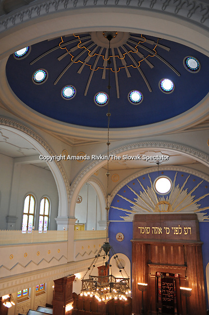 The only Jewish synagogue still in use is seen in Kosice, Slovakia on June 1, 2010.  The synagogue was built by non-Jewish architects for the city's than flourishing Orthodox community numbering in the thousands in the 1920s and completed in 1932; today the community numbers only a few hundred and includes Jews from surrounding villages whose average age is 72 years old.