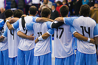 05 APR 2012 - LONDON, GBR - Argentina team members listen to their national anthem before their men's 2012 London Cup match against Great Britain at the National Sports Centre in Crystal Palace, Great Britain (PHOTO (C) 2012 NIGEL FARROW)