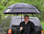 Washington, D.C. - April 21, 2008 -- United States President George W. Bush laughs as he walks towards Marine 1 to depart from the South Lawn of the White House for meetings in New Orleans, Louisiana with President Felipe de Jesus Calderon Hinojosa of Mexico and Prime Minister Stephen Harper of Canada.<br /> Credit: Ron Sachs / Pool via CNP