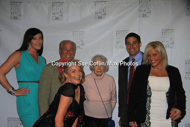 Guiding Light Denise Pence & daughters Brette (L) & Jolan (R) & husband Steve - mom Connie and Jolan's fiance Brian - On June 29, 2013 The Rehearsal Club celebrates 100 years with Cocktails, photos & Networking, Buffet Dinner, awards, presentations and entertainment at the Players Club, New York City, New York. (Photo by Sue Coflin/Max Photos)