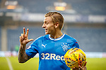 4.3.2018: Rangers v Falkirk Scottish Cup QF<br /> Jason Cummings celebrates his hat-trick with the matchball