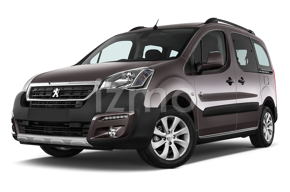 Stock pictures of low aggressive front three quarter view of2015 Peugeot Partner Tepee Outdoor 5 Door Mini Mpv Low Aggressive