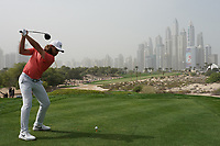 Tommy Fleetwood (ENG) in action on the 8th tee during the first round of the Omega Dubai Desert Classic, Emirates Golf Club, Dubai, UAE. 24/01/2019<br /> Picture: Golffile | Phil Inglis<br /> <br /> <br /> All photo usage must carry mandatory copyright credit (&copy; Golffile | Phil Inglis)