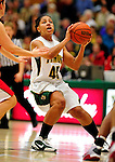 26 January 2010: University of Vermont Catamounts' guard/forward Sofia Iwobi, a Senior from Fairfield, IA, in action against the University of Hartford Hawks at Patrick Gymnasium in Burlington, Vermont. The Hawks defeated the Lady Cats 38-36 in a closely matched America East contest. Mandatory Credit: Ed Wolfstein Photo