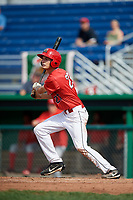 Batavia Muckdogs left fielder Davis Bradshaw (27) follows through on a swing during a game against the Auburn Doubledays on September 2, 2018 at Dwyer Stadium in Batavia, New York.  Batavia defeated Auburn 5-4.  (Mike Janes/Four Seam Images)
