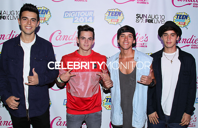 BEVERLY HILLS, CA, USA - AUGUST 09: Janoskians (Jai Brooks, Beau Brooks, Luke Brooks, James Yammouni, Daniel Sahyounie) arrive at the DigiTour and Candie's Official Teen Choice Awards 2014 Pre-Party held at The Gibson Showroom on August 9, 2014 in Beverly Hills, California, United States. (Photo by Xavier Collin/Celebrity Monitor)