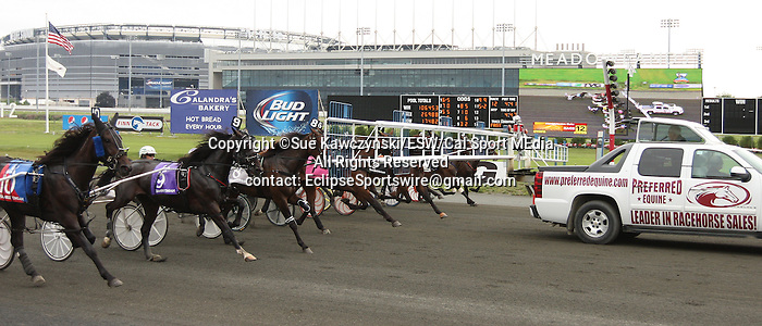 August 2, 2014: Lifetime Pursuit with Yannick Gingras win the 500,000 Hambletonian Oaks for 3-year old fillies,  trotters going 1 mile, at The Meadowlands Racetrack. Trainer: Jimmy Takter. Owner: Brittany Farms. Sue Kawczynski/ESW/CSM