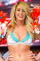 Miami Dolphins Cheerleader Lauren J. walks runway at Miami Dolphins Cheerleaders Swimsuit 2014 Calendar Unveiling and Fashion Show at Fontainebleau's LIV nightclub, Miami Beach, FL, September 5, 2013