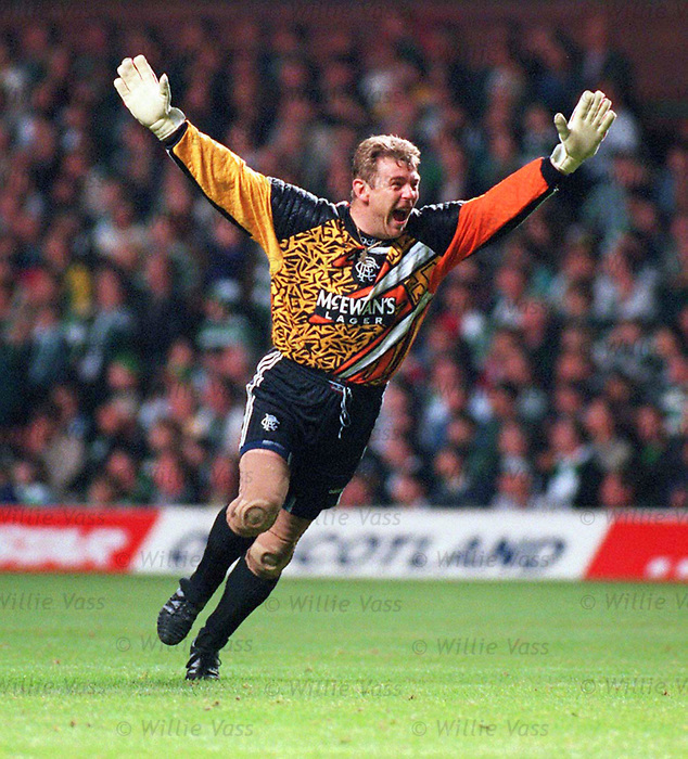 Andy Goram celebrates for Rangers