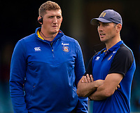 Bath Rugby's Head Coach Stuart Hooper and Attack/Backs coach Girvan Dempsey<br /> <br /> Photographer Bob Bradford/CameraSport<br /> <br /> Premiership Rugby Cup Round Three - Bath Rugby v Leicester Tigers - Saturday 5th October 2019 - The Recreation Ground - Bath<br /> <br /> World Copyright © 2018 CameraSport. All rights reserved. 43 Linden Ave. Countesthorpe. Leicester. England. LE8 5PG - Tel: +44 (0) 116 277 4147 - admin@camerasport.com - www.camerasport.com