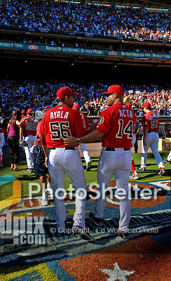 23 September 2007: Washington Nationals pitcher Luis Ayala (left) walks off the field with Manager Manny Acta (right) celebrating a victory against the Philadelphia Phillies at Robert F. Kennedy Memorial Stadium in Washington, DC. The Nationals' 5-3 win was the historic last professional baseball game played at RFK Stadium.. .Mandatory Photo Credit: Ed Wolfstein Photo