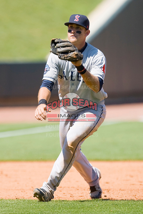 Third baseman Will Middlebrooks #16 of the Salem Red Sox charges a ground ball against the Winston-Salem Dash at  BB&T Ballpark May 9, 2010, in Winston-Salem, North Carolina.  Photo by Brian Westerholt / Four Seam Images