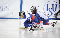 SHORT TRACK: TORINO: 14-01-2017, Palavela, ISU European Short Track Speed Skating Championships, Quarterfinals 500m Men, Victor An (RUS), Thibaut Fauconnet (FRA), ©photo Martin de Jong