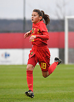 20181205 - TUBIZE , BELGIUM : Belgian Maren Rens pictured during the friendly female soccer match between Women under 15 teams of  Belgium and Gemany , in Tubize , Belgium . Wednesday 5 th December 2018 . PHOTO SPORTPIX.BE / DIRK VUYLSTEKE