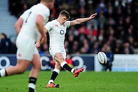 Owen Farrell of England kicks for the posts. RBS Six Nations match between England and Ireland on February 27, 2016 at Twickenham Stadium in London, England. Photo by: Patrick Khachfe / Onside Images