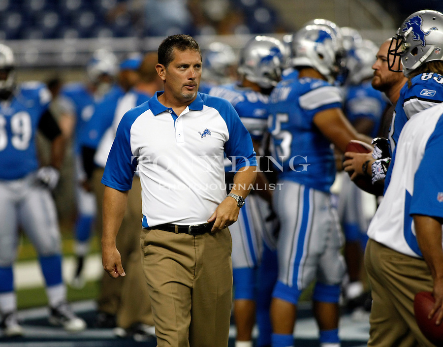 Detroit Lions head coach Jim Schwartz before a preseason NFL football game with the Buffalo Bills, Thursday, Sept. 2, 2010, in Detroit. (AP Photo/Tony Ding)