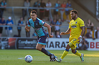 Luke O'Nien of Wycombe Wanderers & Andy Barcham of AFC Wimbledon during the Friendly match between Wycombe Wanderers and AFC Wimbledon at Adams Park, High Wycombe, England on 25 July 2017. Photo by Andy Rowland.