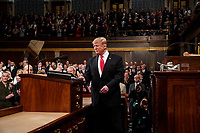 FEBRUARY 5, 2019 - WASHINGTON, DC: President Donald Trump delivered the State of the Union address, with Vice President Mike Pence and Speaker of the House Nancy Pelosi, at the Capitol in Washington, DC on February 5, 2019. <br /> Credit: Doug Mills / Pool, via CNP /MediaPunchCAP/MPI/RS<br /> ©RS/MPI/Capital Pictures