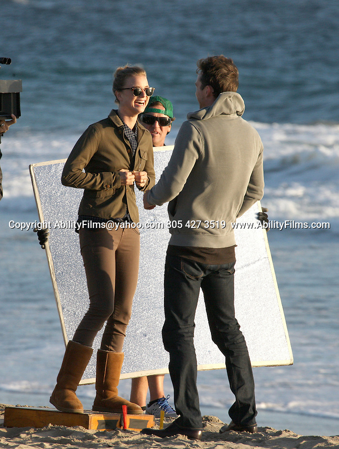September 25th 2013 <br /> <br /> Emily VanCamp kissing her co-star on Malibu Beach while Filming the tv show<br /> Revenge. Emily&rsquo;s co-star helped her put on her boot before the big kissing scene. <br /> <br /> <br /> AbilityFilms@yahoo.com<br /> 805 427 3519 <br /> www.AbilityFilms.com