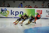 SCHAATSEN: DORDRECHT: Sportboulevard, Korean Air ISU World Cup Finale, 12-02-2012, Final B 1000m (2) Ladies, Ayuko Ito JPN (131), Biba Sakurai JPN (134), Yui Sakai JPN (132), Caroline Truchon CAN (107), ©foto: Martin de Jong