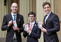 23 February 2017 - Daniel Brown, Oliver James and James Fox during an Investiture Ceremony at Buckingham Palace in London. Photo Credit: ALPR/AdMedia