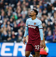 1st February 2020; London Stadium, London, England; English Premier League Football, West Ham United versus Brighton and Hove Albion; Sebastien Haller of West Ham United shows his frustration after missing a chance for goal