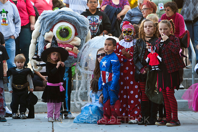 Chris Detrick  |  The Salt Lake Tribune.Kids in various Halloween costumes participate in the costume contest during the Monster Block Party at the Gallivan Center Saturday October 27, 2012.