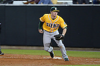 Siena Saints first baseman Vincent Citro (6) during the season opening game against the Central Florida Knights at Jay Bergman Field on February 14, 2014 in Orlando, Florida.  UCF defeated Siena 8-1.  (Mike Janes/Four Seam Images)