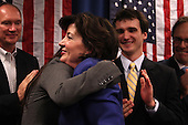Kathy Hochul hugs her daugther Katie after being declared the winner of a special election for the NY-26th at UAW Union Hall on May 24, 2011 in Amherst, New York.  Hochul defeated heavily favored Republican candidate Jane Corwin to give the Democrats a seat in the House of Representatives after former representative Christopher Lee resigned amidst a sex scandal.  Photo By Mike Janes/Four Seam Images