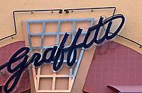 Horton Plaza:  Graffiti signage, colorful walls. Photo  Jan. 1987.