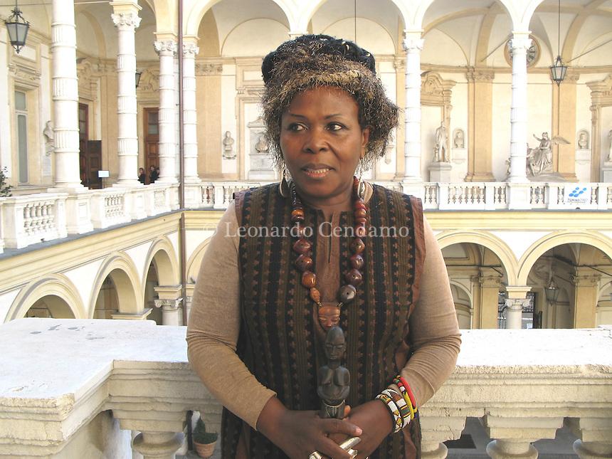 Turin, Italy, 2007. Werewere Liking Gnepo, Camerunense writer, actress and dramatist.