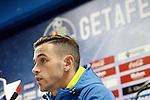 Getafe's Alvaro Vazquez in press conference after La Liga match. January 30,2016. (ALTERPHOTOS/Acero)