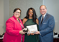Spirit of State Awards ceremony. Vice President of Student Affairs Regina Hyatt and MSU President Mark Keenum with Phyliceia Brown. <br />  (photo by Megan Bean / &copy; Mississippi State University)