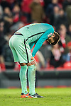 Gerard Pique Bernabeu of FC Barcelona reacts during their Copa del Rey Round of 16 first leg match between Athletic Club and FC Barcelona at San Mames Stadium on 05 January 2017 in Bilbao, Spain. Photo by Victor Fraile / Power Sport Images
