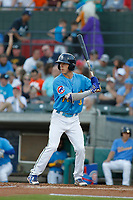Myrtle Beach Pelicans first baseman Jared Young (3) at bat during a game against the Potomac Nationals at Ticketreturn.com Field at Pelicans Ballpark on July 19, 2018 in Myrtle Beach, South Carolina. Potomac defeated Myrtle Beach 6-3. (Robert Gurganus/Four Seam Images)