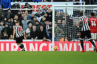 Matt Ritchie of Newcastle United scores the opening goal of the game during Newcastle United vs Manchester United, Premier League Football at St. James' Park on 11th February 2018
