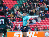 4th November 2017, Welford Road, Leicester, England; Anglo-Welsh Cup, Leicester Tigers versus Gloucester;  Referee Craig Evans in action