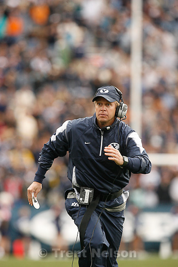 Trent Nelson  |  The Salt Lake Tribune.BYU coach Bronco Mendenhall during the second half, BYU vs. Wyoming, college football Saturday, October 23, 2010 at LaVell Edwards Stadium in Provo. BYU won 25-20.