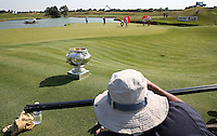 Slide cameraman at work. The Champion's Trophy on the 18th during thePro-Am of the 2015 Alstom Open de France, played at Le Golf National, Saint-Quentin-En-Yvelines, Paris, France. /01/07/2015/. Picture: Golffile | David Lloyd<br /> <br /> All photos usage must carry mandatory copyright credit (&copy; Golffile | David Lloyd)
