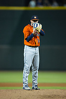Buies Creek Astros relief pitcher Alex Winkelman (14) looks to his catcher for the sign against the Winston-Salem Dash at BB&T Ballpark on April 13, 2017 in Winston-Salem, North Carolina.  The Dash defeated the Astros 7-1.  (Brian Westerholt/Four Seam Images)