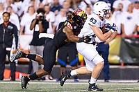 College Park, MD - SEPT 27, 2019: Penn State Nittany Lions tight end Nick Bowers (83) rumbles into the endzone tackled by Maryland Terrapins linebacker Isaiah Davis (22) during game between Maryland and Penn State at Capital One Field at Maryland Stadium in College Park, MD. The Nittany Lions beat the Terps 50-0. (Photo by Phil Peters/Media Images International)