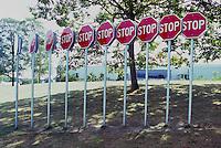 Row of Stop Signs Public Art - Artist's Display of Urban Artwork